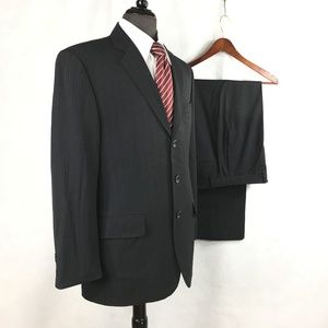 Calvin Klein gray striped polyester blend suit